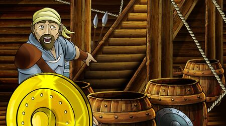 cartoon scene with roman or greek ancient character inside wooden ship chamber with golden shield illustration for children Archivio Fotografico - 136594785