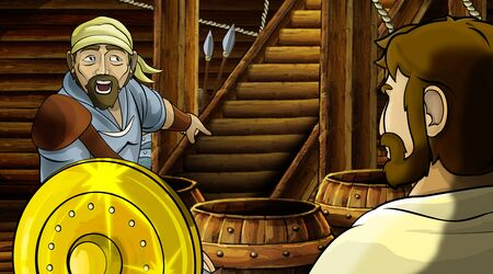 cartoon scene with roman or greek ancient character inside wooden ship chamber with golden shield illustration for children Archivio Fotografico - 136594802
