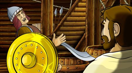 cartoon scene with roman or greek ancient character inside wooden ship chamber with golden shield illustration for children Archivio Fotografico - 136594792