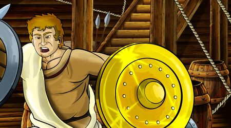 cartoon scene with roman or greek ancient character inside wooden ship chamber with golden shield illustration for children Archivio Fotografico - 136594793