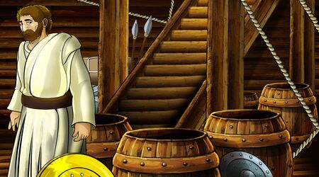 cartoon scene with roman or greek ancient character inside wooden ship chamber with golden shield illustration for children Archivio Fotografico - 136594795