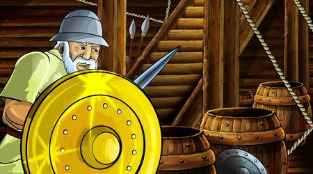 cartoon scene with roman or greek ancient character inside wooden ship chamber with golden shield illustration for children Archivio Fotografico - 136594800