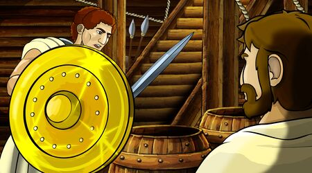 cartoon scene with roman or greek ancient character inside wooden ship chamber with golden shield illustration for children Archivio Fotografico - 136543219