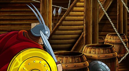 cartoon scene with roman or greek ancient character inside wooden ship chamber with golden shield illustration for children Archivio Fotografico - 136543222