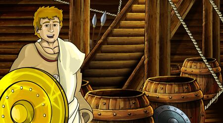 cartoon scene with roman or greek ancient character inside wooden ship chamber with golden shield illustration for children Archivio Fotografico - 136543232