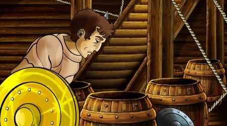 cartoon scene with roman or greek ancient character inside wooden ship chamber with golden shield illustration for children Archivio Fotografico - 136543234