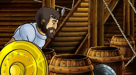 cartoon scene with roman or greek ancient character inside wooden ship chamber with golden shield illustration for children Archivio Fotografico - 136543235