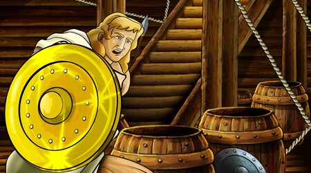 cartoon scene with roman or greek ancient character inside wooden ship chamber with golden shield illustration for children Archivio Fotografico - 136612608