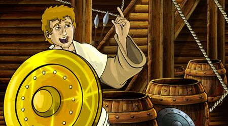 cartoon scene with roman or greek ancient character inside wooden ship chamber with golden shield illustration for children Archivio Fotografico - 136612611