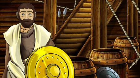 cartoon scene with roman or greek ancient character inside wooden ship chamber with golden shield illustration for children Archivio Fotografico - 136612617