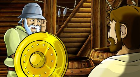 cartoon scene with roman or greek ancient character inside wooden ship chamber with golden shield illustration for children Archivio Fotografico - 136612622