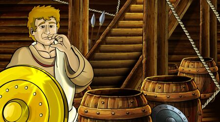 cartoon scene with roman or greek ancient character inside wooden ship chamber with golden shield illustration for children Archivio Fotografico - 136612626