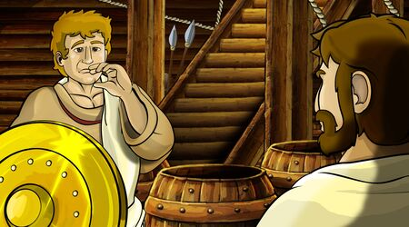 cartoon scene with roman or greek ancient character inside wooden ship chamber with golden shield illustration for children Archivio Fotografico - 136612625