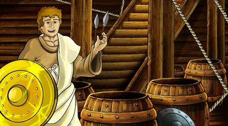 cartoon scene with roman or greek ancient character inside wooden ship chamber with golden shield illustration for children Archivio Fotografico - 136543256