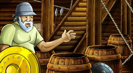 cartoon scene with roman or greek ancient character inside wooden ship chamber with golden shield illustration for children Archivio Fotografico - 136543258