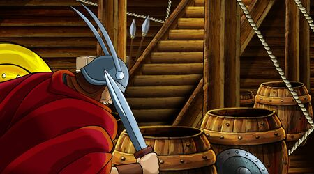 cartoon scene with roman or greek ancient character inside wooden ship chamber with golden shield illustration for children Archivio Fotografico - 136217098