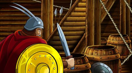 cartoon scene with roman or greek ancient character inside wooden ship chamber with golden shield illustration for children Archivio Fotografico - 136217102