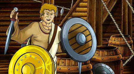 cartoon scene with roman or greek ancient character inside wooden ship chamber with golden shield illustration for children Archivio Fotografico - 136217109