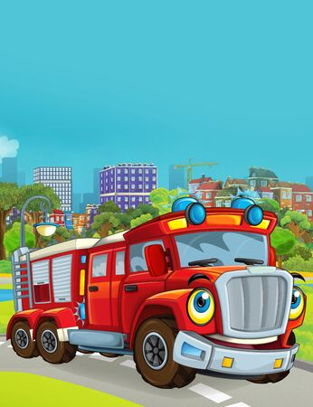 cartoon scene with fireman vehicle on the road driving through the city - illustration for children Фото со стока
