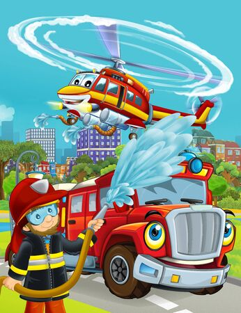 cartoon scene with fireman vehicle on the road driving through the city and helicopter flying over and fireman standing near - illustration for children