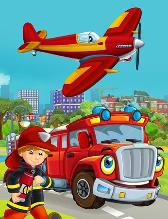 cartoon scene with fireman vehicle on the road driving through the city and plane flying over and fireman standing near - illustration for children