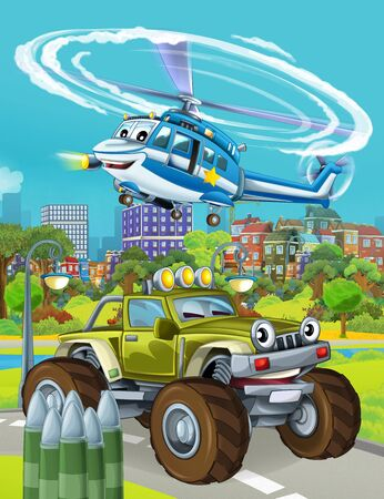 cartoon scene with military army car vehicle on the road and police helicopter flying over - illustration for children Фото со стока