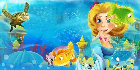 Cartoon-Ozean und die Meerjungfrau im Unterwasserreich, die mit Fischen schwimmen und Spaß haben - Illustration für Kinder