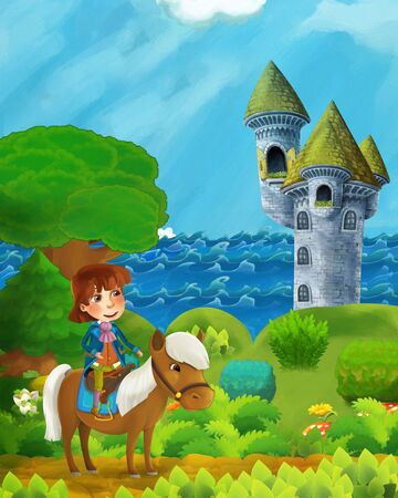 cartoon forest scene with prince on path near the forest sea shore and and castle tower - illustration for children Фото со стока - 136613411