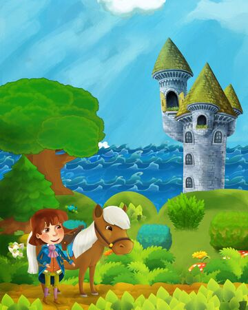 cartoon forest scene with prince on path near the forest sea shore and and castle tower - illustration for children
