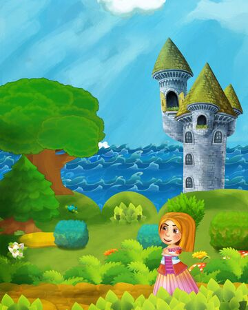cartoon forest scene with princess path near the forest sea shore and and castle tower - illustration for children