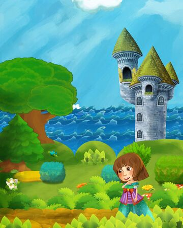 cartoon forest scene with prince path near the forest sea shore and and castle tower - illustration for children