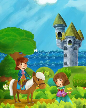 cartoon forest scene with princess and prince on path near the forest sea shore and and castle tower - illustration for children