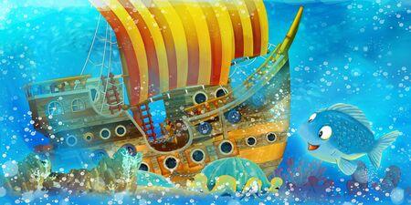 Cartoon ocean scene and the mermaid princess in underwater kingdom swimming and having fun near the sunken pirate ship - illustration for children