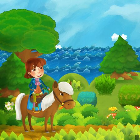 cartoon forest scene with prince with his horse standing on the path near the shore of ocean or sea - illustration for children Stok Fotoğraf
