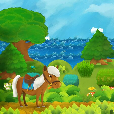 cartoon forest scene with horse pony standing on path near the forest and sea shore and pirate ship is docked hidden - illustration for children Stok Fotoğraf