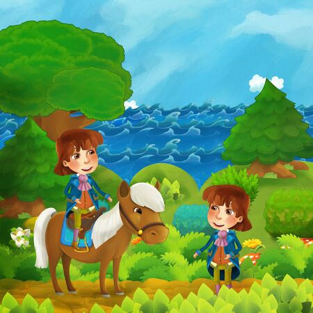 cartoon forest scene with prince and price with his horse standing on the path near the shore of ocean or sea - illustration for children