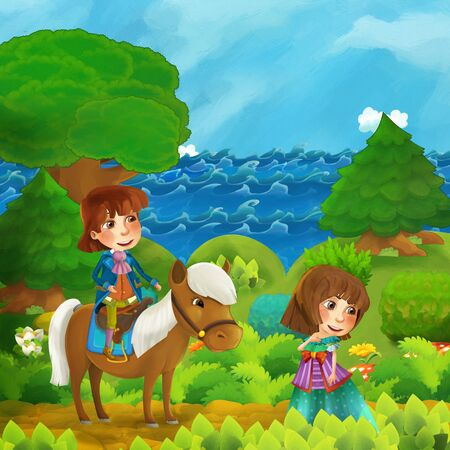 cartoon forest scene with princess and price with his horse standing on the path near the shore of ocean or sea - illustration for children