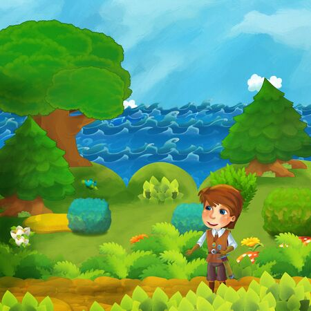 cartoon forest scene with prince standing on the path near the shore of ocean or sea - illustration for children Stok Fotoğraf