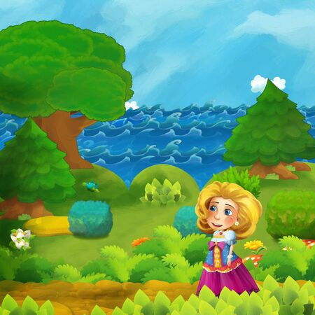 cartoon forest scene with princess standing on the path near the shore of ocean or sea - illustration for children