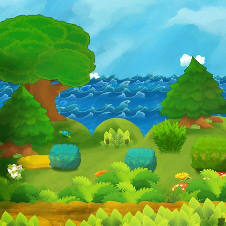 cartoon scene of beautiful shore or beach by the ocean or sea near some forest - illustration for children