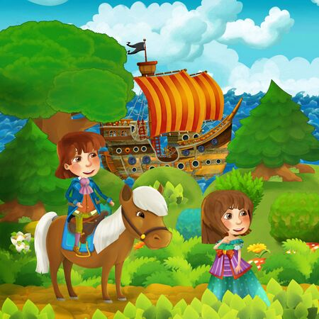 cartoon forest scene with prince and princess standing on path near the forest and sea shore and pirate ship is docked hidden - illustration for children Stok Fotoğraf