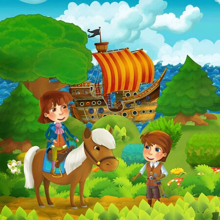 cartoon forest scene with prince standing on path near the forest and sea shore and pirate ship is docked hidden - illustration for children Stok Fotoğraf
