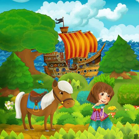 cartoon forest scene with princess standing on path near the forest and sea shore and pirate ship is docked hidden - illustration for children