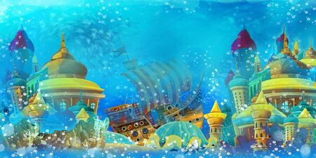 Cartoon ocean and the mermaid in underwater kingdom swimming and having fun - illustration for children