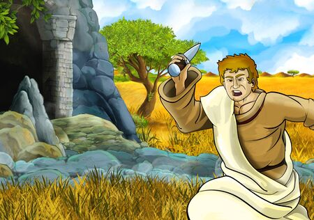 cartoon safari scene with greek or roman character philosopher or warrior discovering the cave - illustration for children