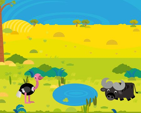 cartoon africa safari scene with cute wild animals by the pond illustration for children Imagens