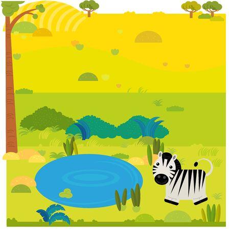 cartoon safari scene with wild animal zebra on the meadow illustration for children Banco de Imagens - 142136829