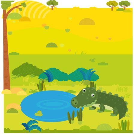 cartoon safari scene with wild animal alligator crocodile on the meadow illustration for children Imagens