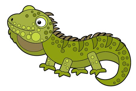 cartoon american happy and funny lizard iguana isolated on white background - illustration for children