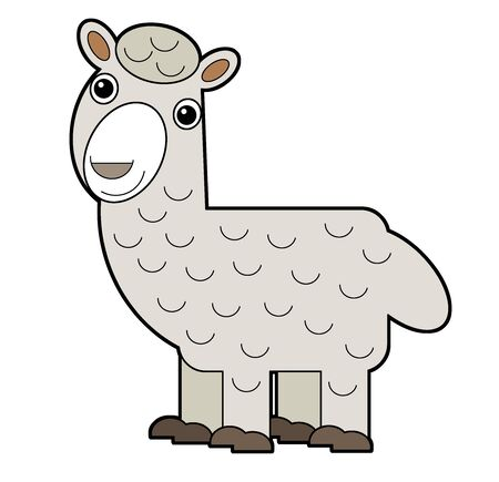 cartoon scene with american animal alpaca on white background illustration for children Banco de Imagens - 142136928